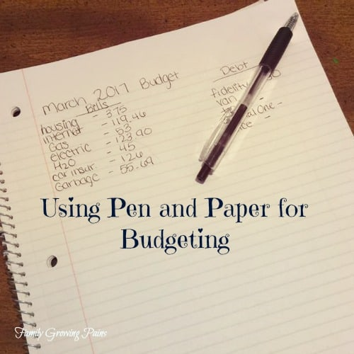 using pen and paper for budgeting family growing pains